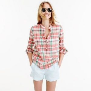 J. Crew Tall Ruffle Popover Shirt in Melon Plaid